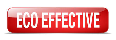eco notice: eco effective red square 3d realistic isolated web button