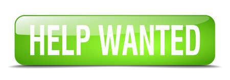 help wanted sign: ayudar bot�n querido cuadrado verde 3d realista aislada web Vectores
