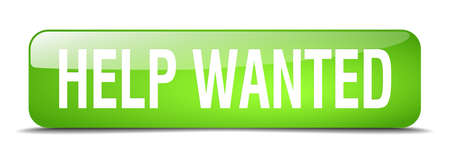 help wanted sign: help wanted green square 3d realistic isolated web button