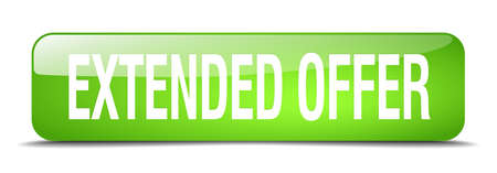 extended offer green square 3d realistic isolated web button