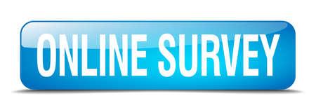 online survey: online survey blue square 3d realistic isolated web button Illustration