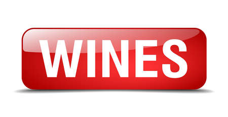 wines: wines red square 3d realistic isolated web button Illustration