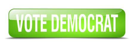 democrat: vote democrat green square 3d realistic isolated web button Illustration
