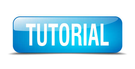 tutorial: tutorial blue square 3d realistic isolated web button Illustration