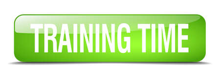 time to shine: training time green square 3d realistic isolated web button Illustration