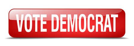 democrats: votar dem�crata bot�n cuadrado rojo 3d realista aislada web