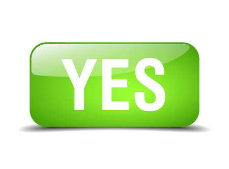 yes green square 3d realistic isolated web button
