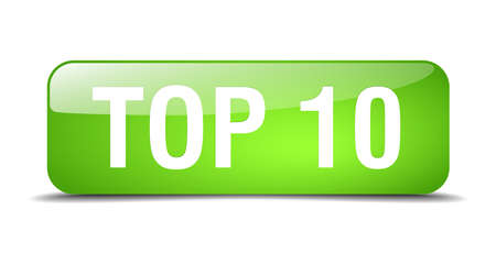 top 10: top 10 green square 3d realistic isolated web button Illustration