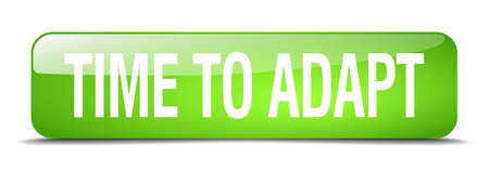 adapt: time to adapt green square 3d realistic isolated web button