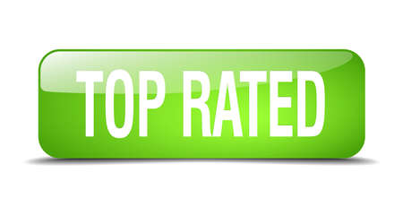rated: top rated green square 3d realistic isolated web button