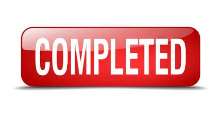 completato: completato rosso 3d web pulsante isolato realistico piazza Vettoriali