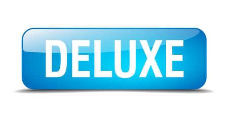 deluxe: deluxe blue square 3d realistic isolated web button