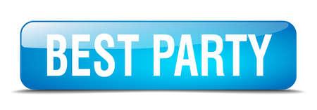 best party: miglior partito blu 3d web pulsante isolato realistico piazza