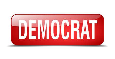 democrat: democrat red square 3d realistic isolated web button Illustration