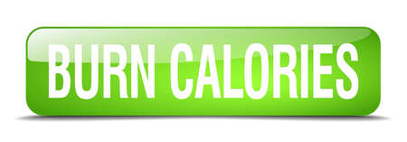 calories: burn calories green square 3d realistic isolated web button
