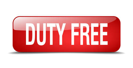 duty: duty free red square 3d realistic isolated web button