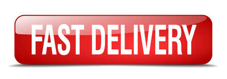 fast delivery: fast delivery red square 3d realistic isolated web button