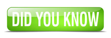 did: did you know green square 3d realistic isolated web button