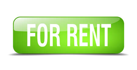 for rent: for rent green square 3d realistic isolated web button