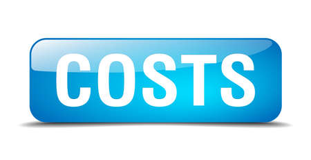 costs: costs blue square 3d realistic isolated web button Illustration