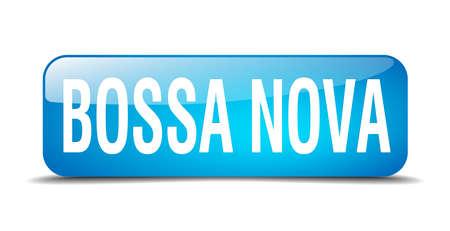 nova: bossa nova blue square 3d realistic isolated web button