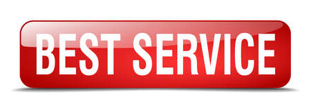 best service: best service red square 3d realistic isolated web button