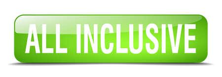 inclusive: all inclusive green square 3d realistic isolated web button