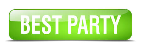 best party: best party green square 3d realistic isolated web button