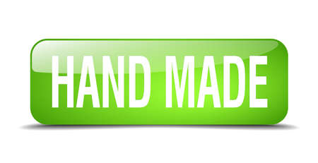 hand made: bot�n hecho a mano cuadrado verde 3d realista aislado web