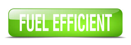 efficient: fuel efficient green square 3d realistic isolated web button