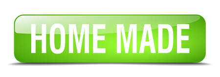 home made: home made green square 3d realistic isolated web button