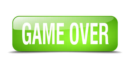 the game is over: game over green square 3d realistic isolated web button