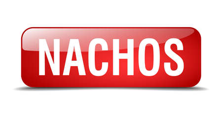 nachos: nachos red square 3d realistic isolated web button