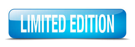 limited edition: limited edition blue square 3d realistic isolated web button Illustration