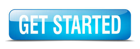 get started blue square 3d realistic isolated web button