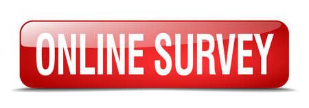 online survey: online survey red square 3d realistic isolated web button Illustration