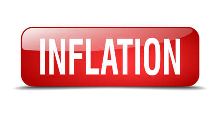 inflation: inflation red square 3d realistic isolated web button