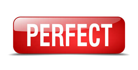 perfect: perfect red square 3d realistic isolated web button