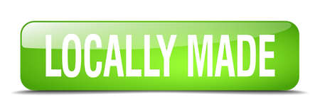locally: locally made green square 3d realistic isolated web button