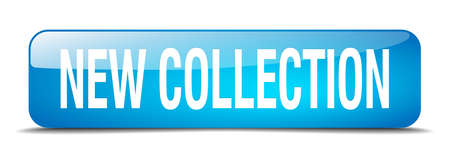 new collection: new collection blue square 3d realistic isolated web button Illustration
