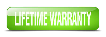 lifetime: lifetime warranty green square 3d realistic isolated web button