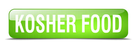 kosher: kosher food green square 3d realistic isolated web button