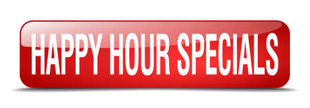specials: happy hour specials red square 3d realistic isolated web button