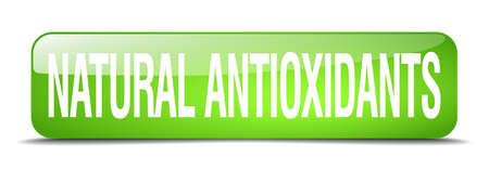 antioxidants: natural antioxidants green square 3d realistic isolated web button