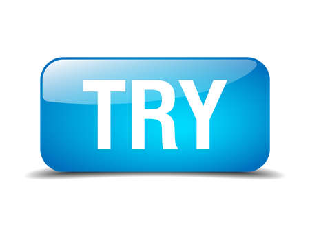 essayer: essayez carr� bleu 3d r�aliste bouton Web isol�