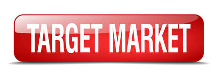 target market: target market red square 3d realistic isolated web button