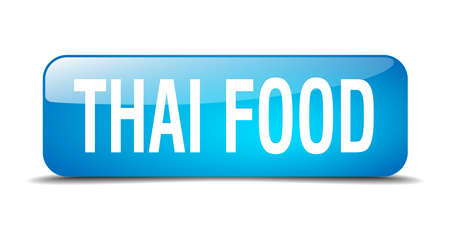 thai food: thai food blue square 3d realistic isolated web button