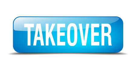 takeover: takeover blue square 3d realistic isolated web button