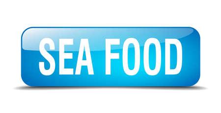 sea food: sea food blue square 3d realistic isolated web button