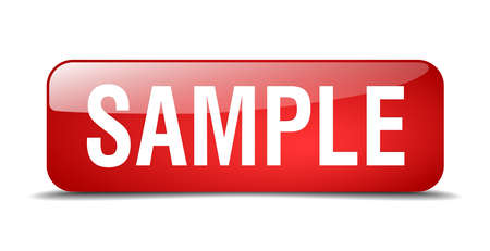 sample: sample red square 3d realistic isolated web button Illustration